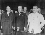 Clement Attlee, Harry Truman, Vyacheslav Molotov, and Joseph Stalin during the Potsdam Conference, Germany, 1 Aug 1945, photo 1 of 2