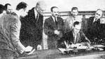 British Ambassador Stafford Cripps signing a mutual assistance agreement between the United Kingdom and the Soviet Union, Moscow, Russia, 12 Jul 1941