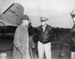 General Joseph Stilwell and Major General Curtis LeMay at an American airfield in China, 11 Oct 1944