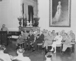James Forrestal, Henry Stimson, George Marshall, Ernest King, Henry Arnold, and others at a Medal of Honor presentation ceremony, White House, Washington DC, United States, 23 Aug 1945