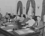 US President Harry Truman with his cabinet, White House, Washington DC, United States, 10 Aug 1945, photo 1 of 5