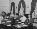 US President Harry Truman with his cabinet, White House, Washington DC, United States, 10 Aug 1945, photo 2 of 5