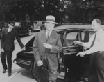Henry Stimson arriving at the White House, Washington DC, United States, 10 Aug 1945