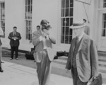 Henry Stimson at the White House, Washington DC, United States, 10 Aug 1945, photo 2 of 2