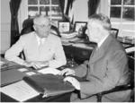 US President Harry Truman and Secretary of War Henry Stimson, 8 Aug 1945
