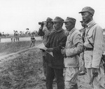Su Yu and other Communist Chinese officers during the Menglianggu Campaign, Shandong Province, China, 1947