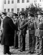 Jozef Tiso inspecting pilots, 1939-1940