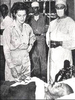 Hideki Tojo being treated by Americans at SCAP hospital in Tokyo, Japan after his failed suicide attempt, 11 Sep 1945