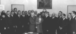 Harry Truman being sworn in as the President of the United States, White House, Washington DC, United States, 12 Apr 1945