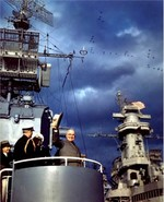Truman aboard USS Renshaw during Navy Day Fleet Review, New York City, New York, United States, 27 Oct 1945; note USS Missouri