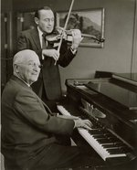 Harry Truman (piano) and Jack Benny (violin) playing music together, 3 Sep 1959