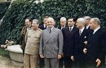 Joseph Stalin, Harry Truman, Andrei Gromyko, James Byrnes, Vyacheslav Molotov, Harry Vaughn, Charles Bohlen, James Vardaman, and Charles Griffith Ross (partially obscured) at the Potsdam Conference, Germany, 18 Jul 1945