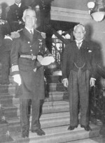 US Navy Captain Richmond Turner and Japanese Foreign Minister Hachiro Arita at Arita