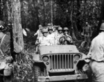 LGen Thomas Holcomb (left front), Col Merritt Edson (right rear), and MGen Alexander Vandegrift touring Guadalcanal, Solomon Islands, Nov 1942