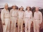 Geiger, Spruance, H. Smith, Nimitz, and Vandegrift at Guam, 11 Aug 1944