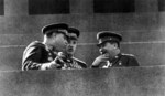 Joseph Stalin with Aleksandr Vasilevsky and Konstantin Rokossovsky at Lenin