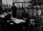 Soviet generals Aleksandr Vasilevsky and Ivan Chernyakhovsky accepting surrender from German generals Alfons Hitter and Friedrich Gollwitzer, Vitebsk, Byelorussia, 28 Jun 1944, photo 1 of 2