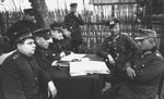 Soviet generals Aleksandr Vasilevsky and Ivan Chernyakhovsky accepting surrender from German generals Alfons Hitter and Friedrich Gollwitzer, Vitebsk, Byelorussia, 28 Jun 1944, photo 2 of 2