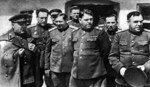 Voroshilov, Vasilevsky, and other Soviet leaders in Ukraine, 1944