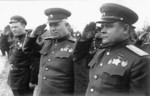 Nikita Khrushchev (center) and Nikolai Vatutin (right), 1940s