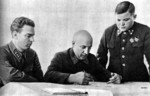 Bogatkin, Kurochkin, and Vatutin of the Soviet Military Council of the Northwestern Front, 1941