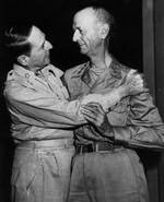 MacArthur embracing Wainwright, the New Grand Hotel, Yokohama, Japan, 31 Aug 1945