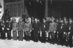 Wang Jingwei and military officers at the ceremony establishing a Japanese government in Nanjing, China, 30 Mar 1940