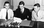 Arthur Altmeyer, John Winant, and Vincent Miles at the first meeting of the US Social Security Board, 23 Aug 1935