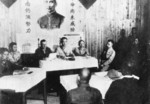 Lieutenant General Xiao Yisu speaking with the local Japanese surrender delegation, Zhijiang, Hunan Province, China, 21 Aug 1945, photo 1 of 2
