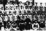 Sun Yatsen and Song Qingling (both seated) with Ye Ting (first on right), Xue Yue (first on left), Zhang Fakui (second on left) and other officers, 1922