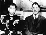 Captain Isoroku Yamamoto with US Secretary of the Navy Curtis Wilbur circa 1925-1928; note Order of the Golden Kite at Yamamoto