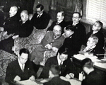Japanese War Minister Seoshiro Itagaki and Naval Minister Mitsumasa Yonai at a Budget Committee session, Tokyo, Japan, Jan-Feb 1939; to the right of Yonai is Prime Minister Kiichiro Hiranuma