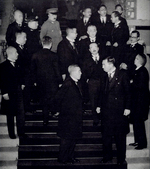 Japanese Prime Minister Kiichiro Hiranuma with members of his cabinet, Tokyo, Japan, 5 Jan 1939; note Minister-without-Portfolio Konoe, Interior Minister Kido, Naval Minister Yonai, War Minister Itagaki, Foreign Minister Arita