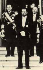 Japanese Prime Minister Fumimaro Konoe with his cabinet ministers, 7 Mar 1937; note Naval Minister Mitsumasa Yonai in background
