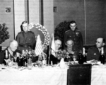Dwight Eisenhower, Georgi Zhukov, Bernard Montgomery, and Jean de Lattre de Tassigny at a feast in Berlin, Germany, 5 Jun 1945