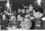 Georgi Zhukov signing the German surrender document, Karlshorst, Berlin, Germany, 8 May 1945, photo 1 of 2