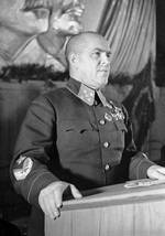 Georgi Zhukov speaking in Moscow, Russia, 1 Sep 1941