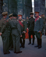 Georgi Zhukov, Konstantin Rokossovsky, and other Soviet officers greeting Bernard Montgomery and other British officers at the Brandenburg Gate, Berlin, Germany, 12 Jul 1945