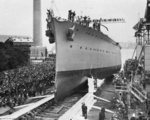 Launching ceremony of HMAS Adelaide, Cockatoo Island Dockyard, Sydney, Australia, 27 Jul 1918
