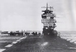 Aircraft carrier Akagi shortly after leaving Port Stirling, Celebes for the Indian Ocean, 26 Mar 1942; note B5N torpedo bombers on flight deck