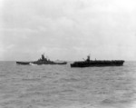 USS Alabama, USS Monterey, and USS Indiana (background) en route to Gilbert Islands, 12 Nov 1943; photo taken from USS Lexington