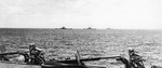 USS South Dakota, USS Alabama, and USS North Carolina underway in the South Pacific, 25 Jan 1944; photo taken from USS Intrepid