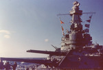 View of USS Alabama from the bow during her shakedown period, Casco Bay, Maine, United States, Jan 1943