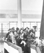 Henrietta McCormick Hill, wife of Alabama senator Lister Hill, christening battleship Alabama at Norfolk Naval Shipyard, Portsmouth, Virginia, United States, 16 Feb 1942