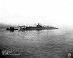 Albacore towed to dock off Groton, CT, 17 Feb 1942