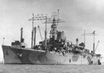 USS Ancon at anchor, Manila Bay, Philippine Islands, mid-Aug 1945, photo 1 of 2; note Measure 31a, Design 18Ax camouflage
