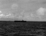 USS Coral Sea a short distance off Kwajalein Atoll, Marshall Islands, 1 Feb 1944; photo taken from USS Manila Bay