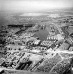 Aerial view of the Reserve Fleet Basin at the Philadelphia Navy Yard, Pennsylvania, United States, 19 May 1955
