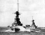 HMS Barham, HMS Malaya, and HMS Argus in exercise, circa late 1920s, photo 1 of 2