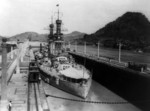 USS Arizona in a lock in the Panama Canal, circa 1921